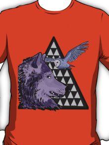 Wolf, Owl & Triangles (kinda coloured) T-Shirt