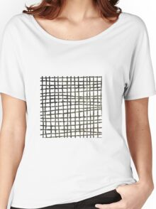 Black and white grid watercolor Women's Relaxed Fit T-Shirt