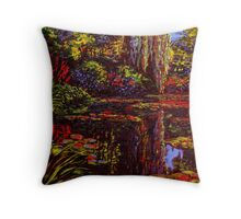 Colors on Monet's Pond Throw Pillow
