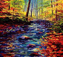Autumn Maple Stream by sesillie