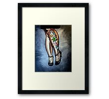 """""""Out Tonight"""" - A woman's legs, with tattoos and tango shoes Framed Print"""