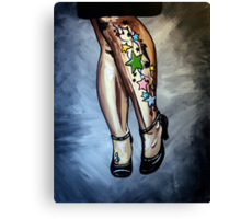 """Out Tonight"" - A woman's legs, with tattoos and tango shoes Canvas Print"