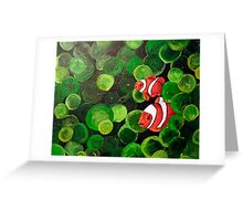 Hide & Seek - Two clown fish peeking out from the tentacles of a sea anemone Greeting Card
