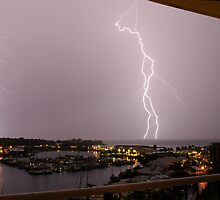 Lightning on Cullen Bay by Lynette Higgs