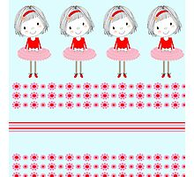 Pretty Girly Illustration Little Girls In A Row Photographic Print