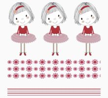 Pretty Girly Illustration Little Girls In A Row One Piece - Short Sleeve