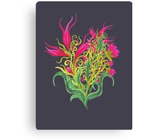 Pink Pops Through Leaves Canvas Print