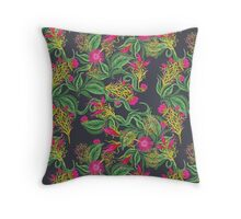 Pink Pops Through Leaves Throw Pillow