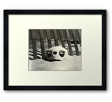 Turtle skull on beach Framed Print