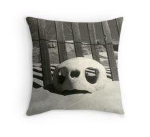 Turtle skull on beach Throw Pillow