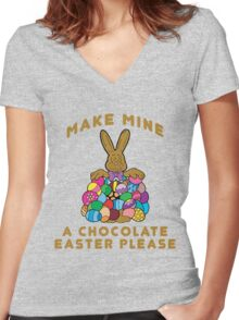 """Easter """"Make Mine A Chocolate Easter Please"""" Women's Fitted V-Neck T-Shirt"""