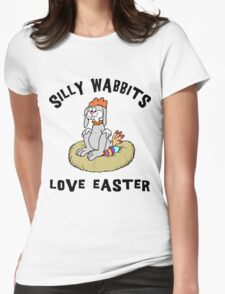 """Funny Easter Bunny """"Silly Wabbits Love Easter"""" Womens Fitted T-Shirt"""