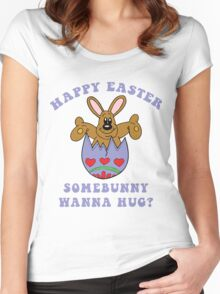"""Happy Easter """"Somebunny Wanna Hug?"""" Women's Fitted Scoop T-Shirt"""