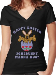 "Happy Easter ""Somebunny Wanna Hug?"" Women's Fitted V-Neck T-Shirt"