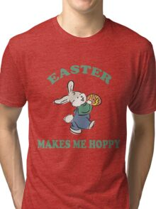 """Easter """"Easter Makes Me Hoppy"""" Tri-blend T-Shirt"""