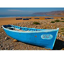 Blue fishing boat in Essaouira, Morocco Photographic Print