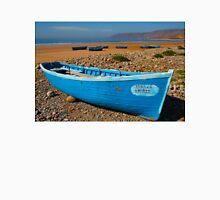 Blue fishing boat in Essaouira, Morocco Unisex T-Shirt