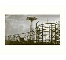 Coney Island Thunderbolt Ride and Parachute Jump Art Print