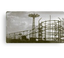 Coney Island Thunderbolt Ride and Parachute Jump Metal Print