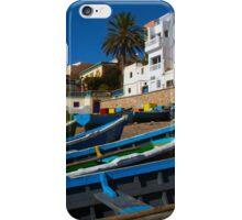 Blue fishing boats near Agadir, Morocco iPhone Case/Skin