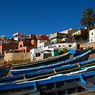 Blue fishing boats near Agadir, Morocco by Bruno Beach
