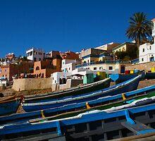 Blue fishing boats near Agadir, Morocco by Digital Editor .