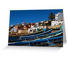 Blue fishing boats near Agadir, Morocco Greeting Card