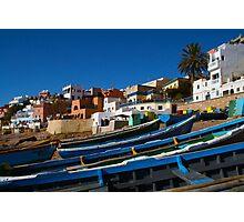 Blue fishing boats near Agadir, Morocco Photographic Print