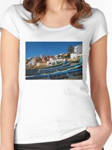 Blue fishing boats near Agadir, Morocco Women's Fitted Scoop T-Shirt