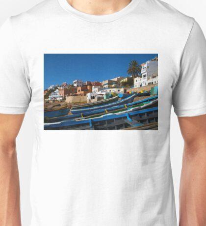 Blue fishing boats near Agadir, Morocco Unisex T-Shirt