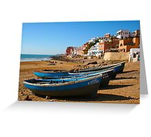 Blue fishing boats in Ahrud near Agadir, Morocco Greeting Card