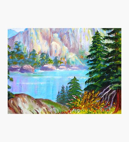 A WINTER Scenic View..  Lake by the Mountain...painting by my mom Photographic Print