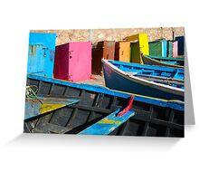 Blue fishing boat in Essaouira, Morocco Greeting Card