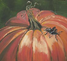 PUMPKIN AND CRICKET PAINTING by JANA CAISSIE