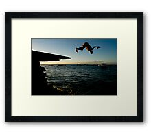 Young Man Dives into Ocean in Brazil Framed Print
