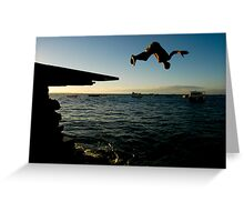 Young Man Dives into Ocean in Brazil Greeting Card