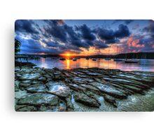 Sunset On The Rocks - Paradise Beach, Sydney  The HDR Experience Canvas Print