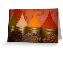 Spices shop in the medina of Marrakesh, Morocco Greeting Card