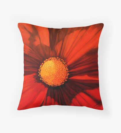 Red Cosmos Center Throw Pillow
