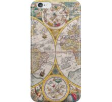 Antique Map of the World & Heavens2 iPhone Case/Skin