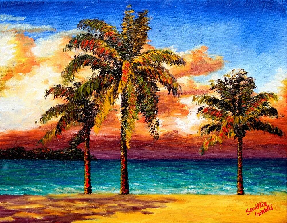 Jamaican Beach Palm Trees by sesillie