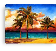 Jamaican Beach Palm Trees Canvas Print