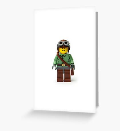 Green Ranger Minifig with goggles Greeting Card