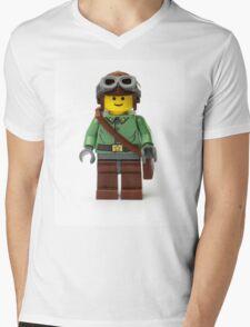 Green Ranger Minifig with goggles Mens V-Neck T-Shirt