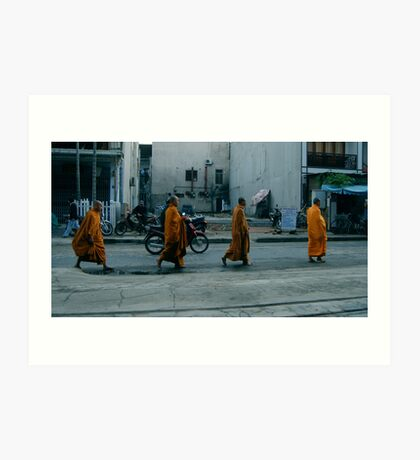 Monks walking Art Print