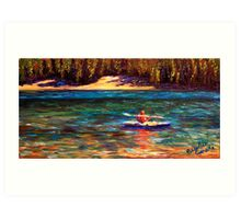 Oregon Cascade Lake Kayaker Art Print