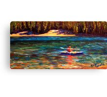 Oregon Cascade Lake Kayaker Canvas Print