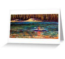 Oregon Cascade Lake Kayaker Greeting Card