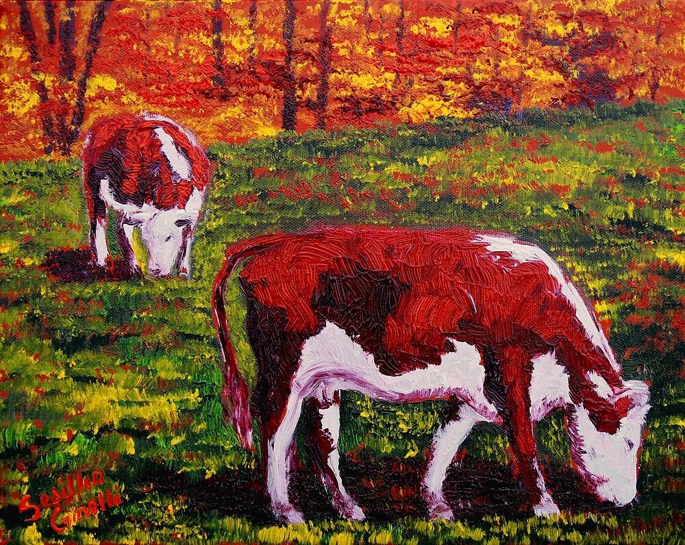 New England Autumn Cows by sesillie