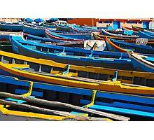 Blue fishing boats in Ahrud near Agadir, Morocco Photographic Print